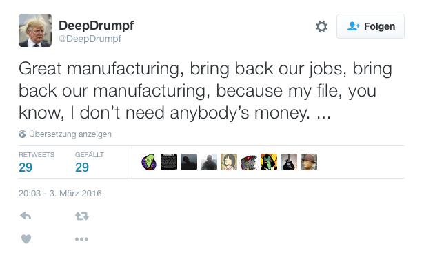 Deep Drumpf: Twitter-Bot treibt Donald Trumps Rhetorik ad absurdum