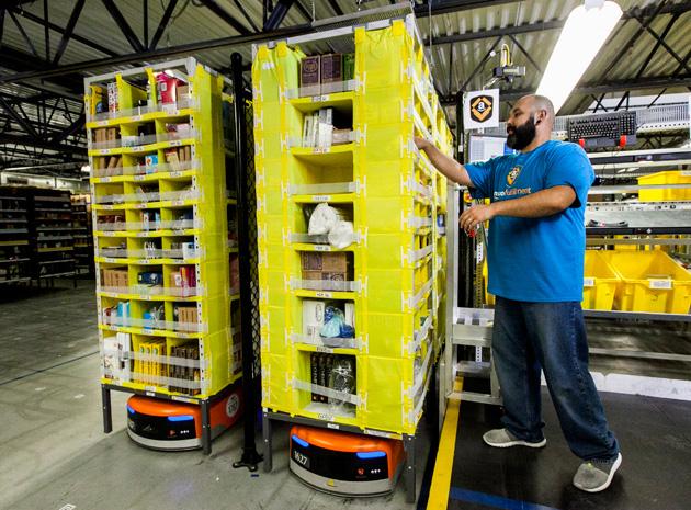Kiva robots at Amazon's newest fulfillment center