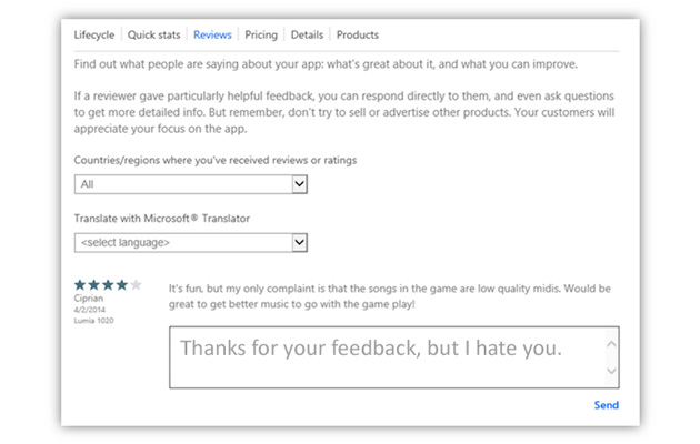 Microsoft Now Letting Developers Respond to App Store Critics