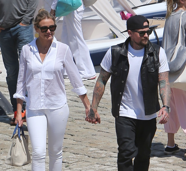 Cameron Diaz and Benji Madden spotted on holiday together in the South of France. <P> Pictured: Cameron Diaz and Benji Madden <P><B>Ref: SPL809058  260714  </B><BR/> Picture by: KCS Presse / Splash News<BR/> </P><P> <B>Splash News and Pictures</B><BR/> Los Angeles: 310-821-2666<BR/> New York: 212-619-2666<BR/> London: 870-934-2666<BR/> photodesk@splashnews.com<BR/> </P>