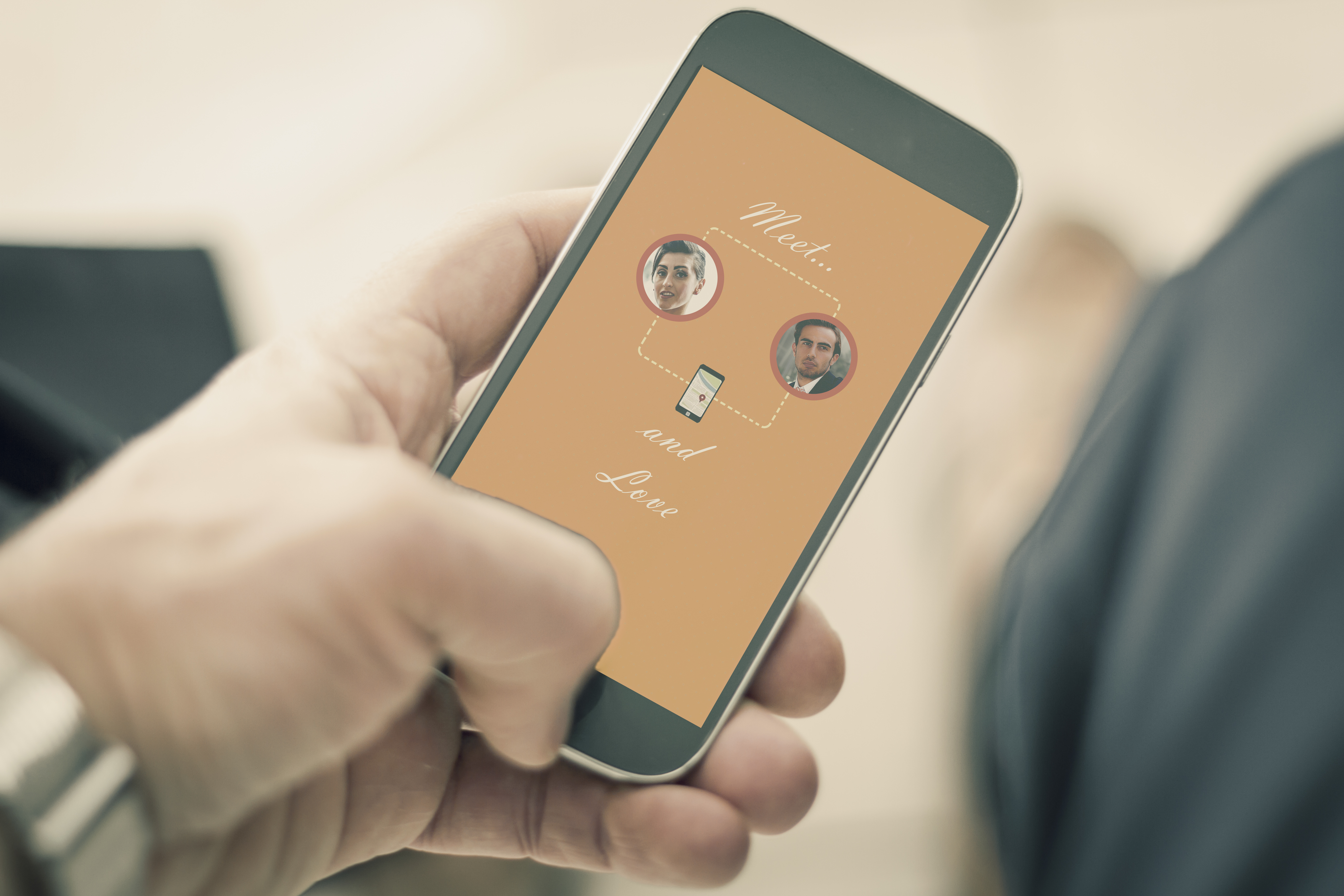 Man using Dating Application on smart phone. New business for Dating applications