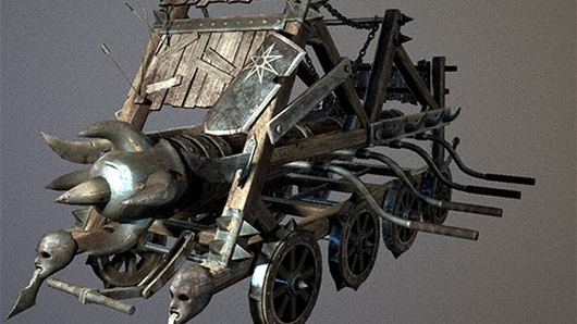 Yes, I see, your siege engine has human heads on the tips of the blades.  Super impressive.  Very hardcore.  Wow, etc.