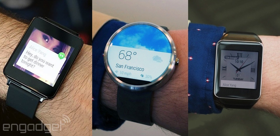 LG G Watch, Motorola Moto 360 and Samsung Gear Live