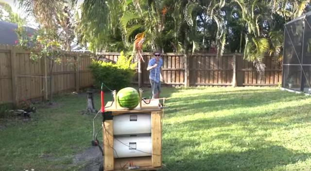 Elektroschocker: Wassermelone versus 20.000 Volt