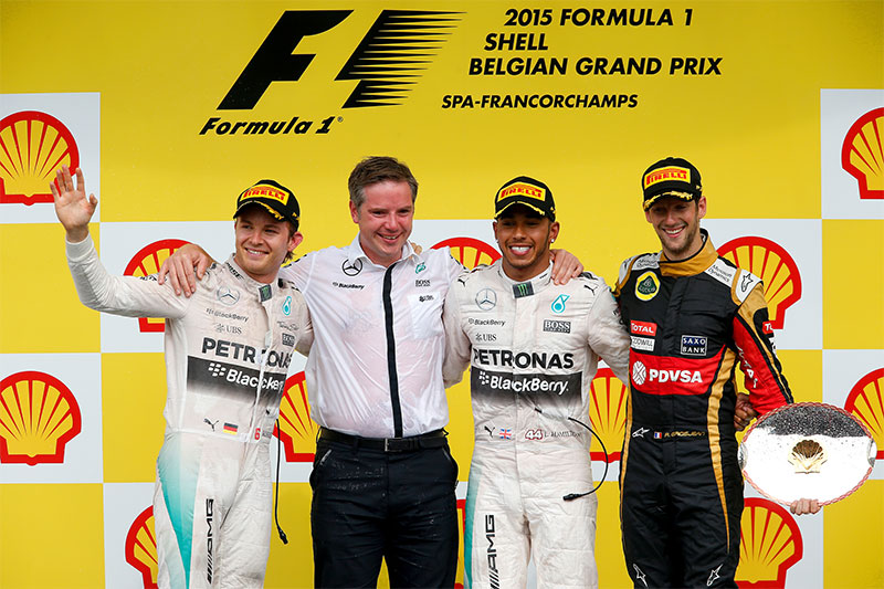 The podium at the 2015 Belgian Grand Prix.