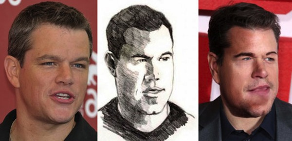 best worst examples of celebrity fan art, bad celebrity drawings, matt damon