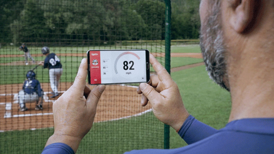 Scoutee's baseball pitch detector in action