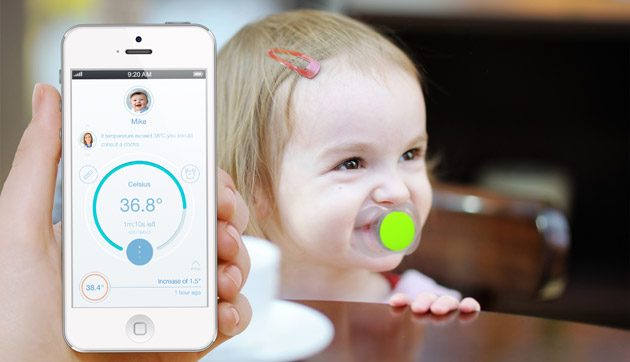 Smart pacifier tracks your baby and its fever
