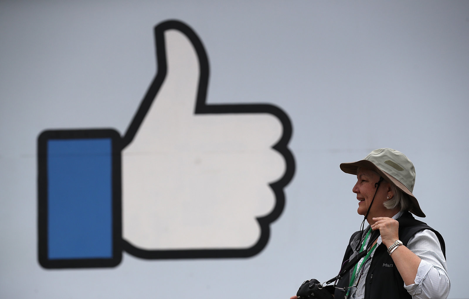 """MENLO PARK, CA - APRIL 05:  A sign is posted outside of Facebook headquarters on April 5, 2018 in Menlo Park, California. Protesters with the activist group """"Raging Grannies"""" staged a pdemonstration outside of Facebook headquaters calling for better consumer protection and online privacy in the wake of Cambridge Analytica's unauthorized access to up to 87 million Facebook users' data.  (Photo by Justin Sullivan/Getty Images)"""