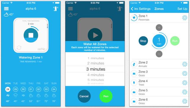 Screens from Rachio Iro app