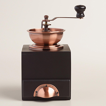 Vintage-looking copper coffee grinder