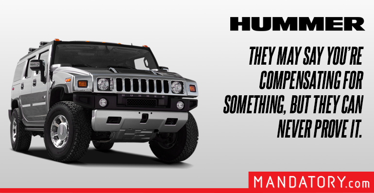 honest car brand billboards, realistic car billboards, funny car slogans, hummer