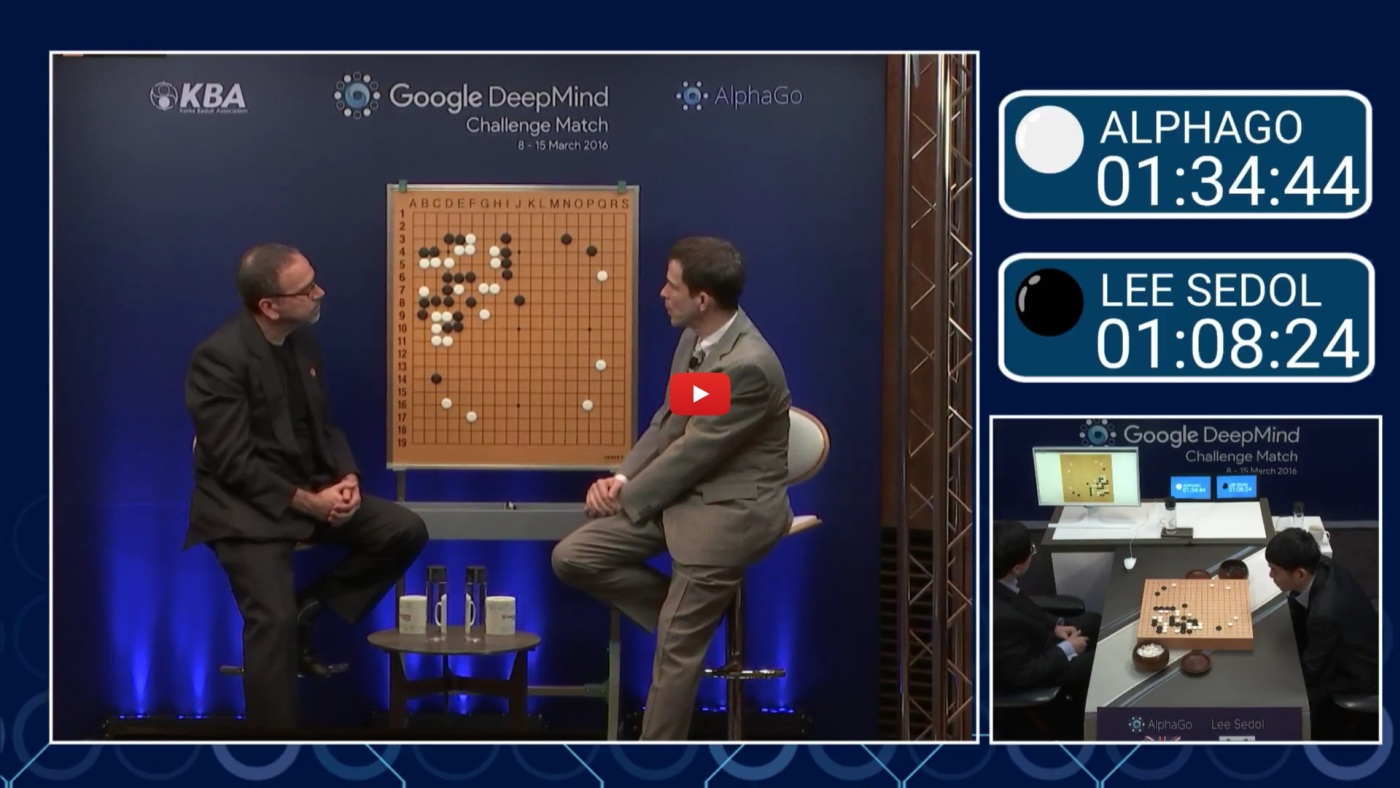 Watch AlphaGo vs. Lee Sedol round 3, live right now