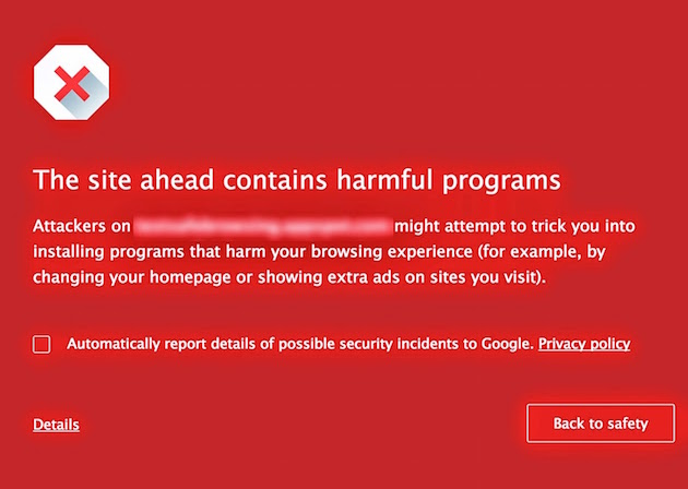 Chrome warns users of malware-infected websites before connecting to them