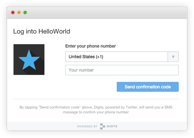 Twitter Digits login on the web