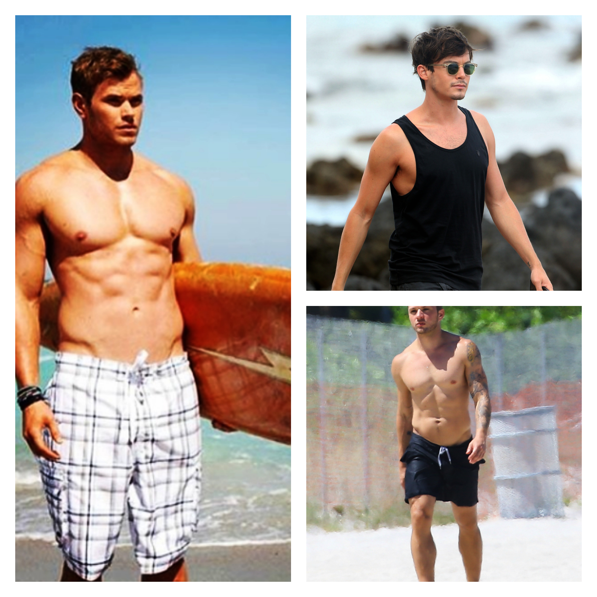 Sexy celebrity guys on the beach