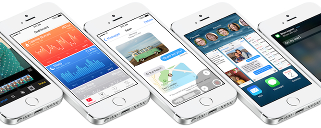 iOS 8 features on a row of iPhones