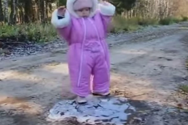 little girl falls on ice video