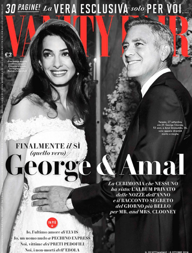 George Clooney and Amal Alamuddin's wedding pics on cover of Vanity Fair Italy