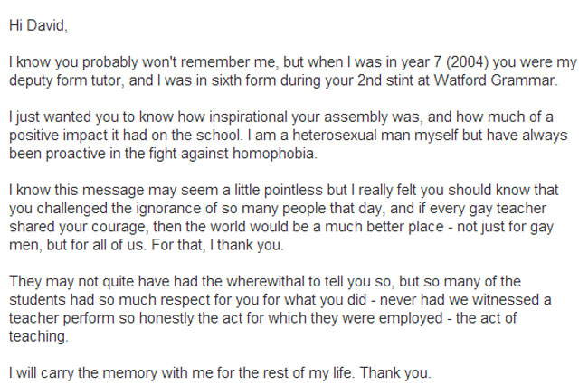 Gay Teacher Receives Thank You Letter From Pupil Four Years After