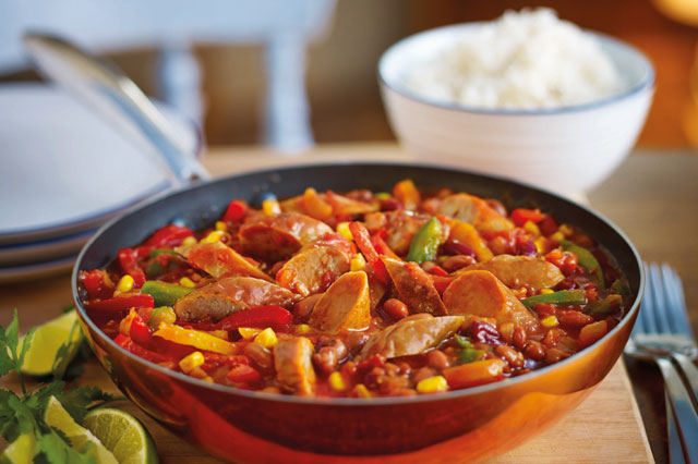 Mexican sausage and bean chilli with rice recipe