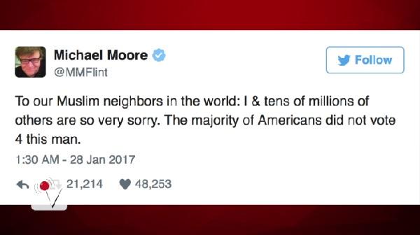 マイケル・ムーア監督など、米国の有名人たちがトランプ大統領の入国禁止令を批判!