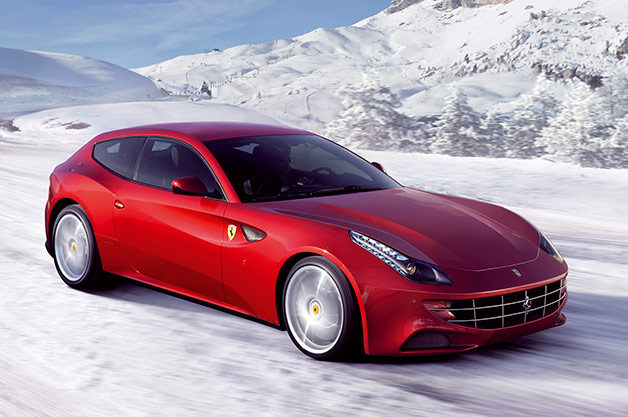 2015 Ferrari FF playing in the snow