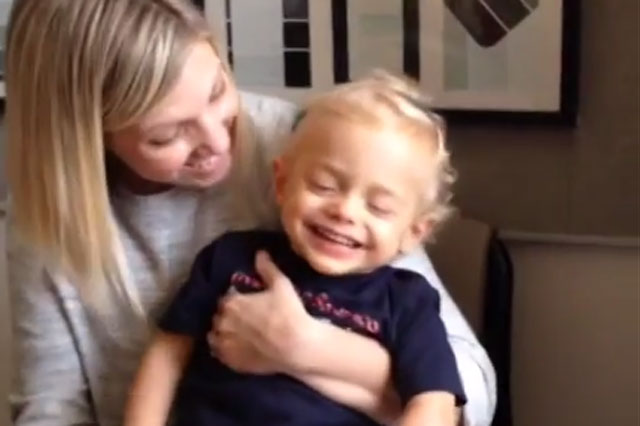 toddler hears for the first time cochlear implants video