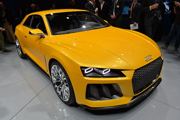 The Audi Sport Quattro Concept at the 2013 Frankfurt Motor Show, front three-quarter view.