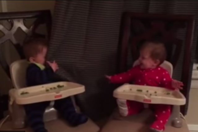 Peek-a-boo twins laugh themselves silly in cute video