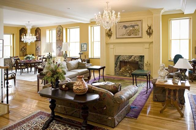 living room yellow walls