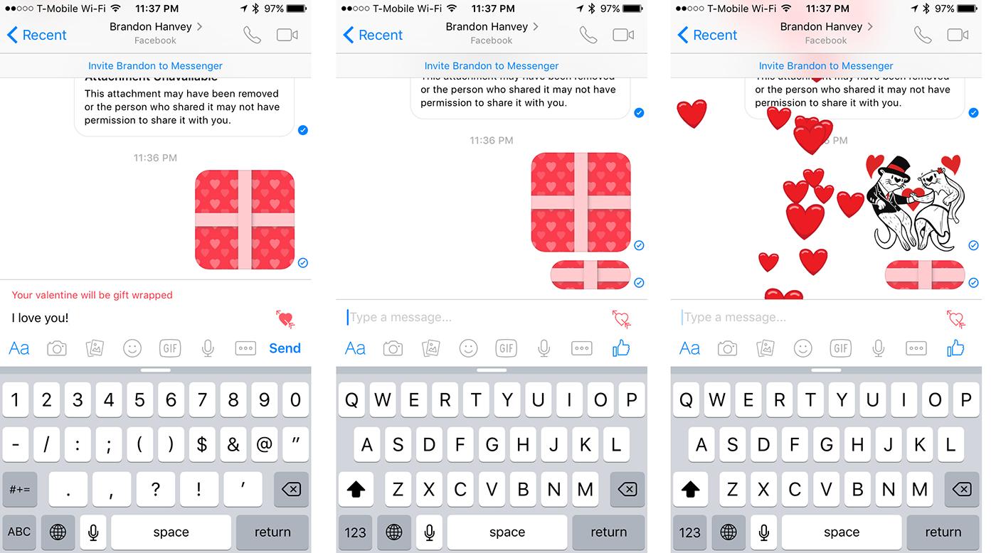 Facebook Messenger lets you send a heart-wrapped Valentine