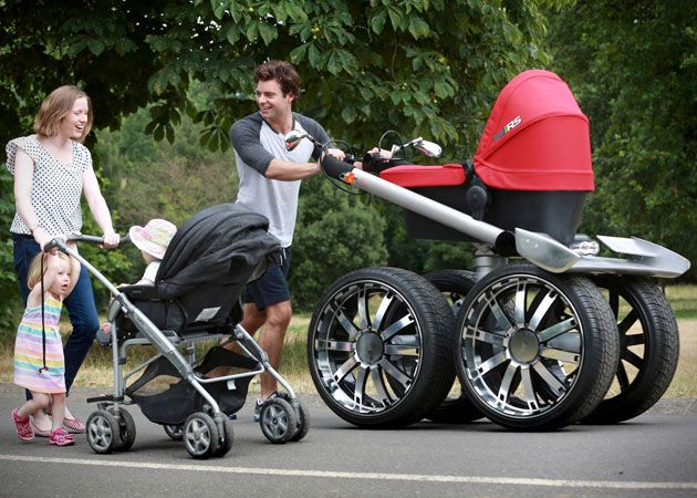 manliest photos on the internet, funny manly images, funny man big wheel stroller