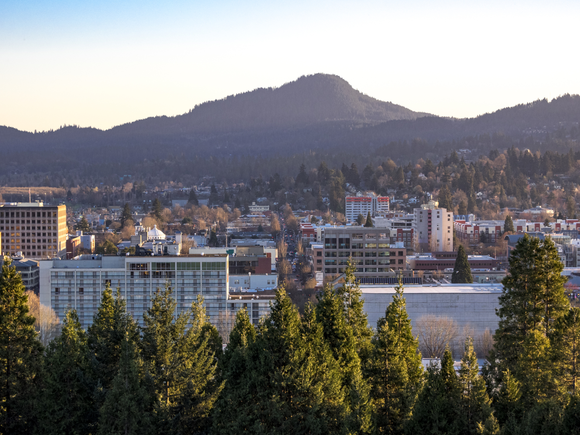 A view of downtown Eugene, Oregon. Taken in the afternoon from Skinner Butte.