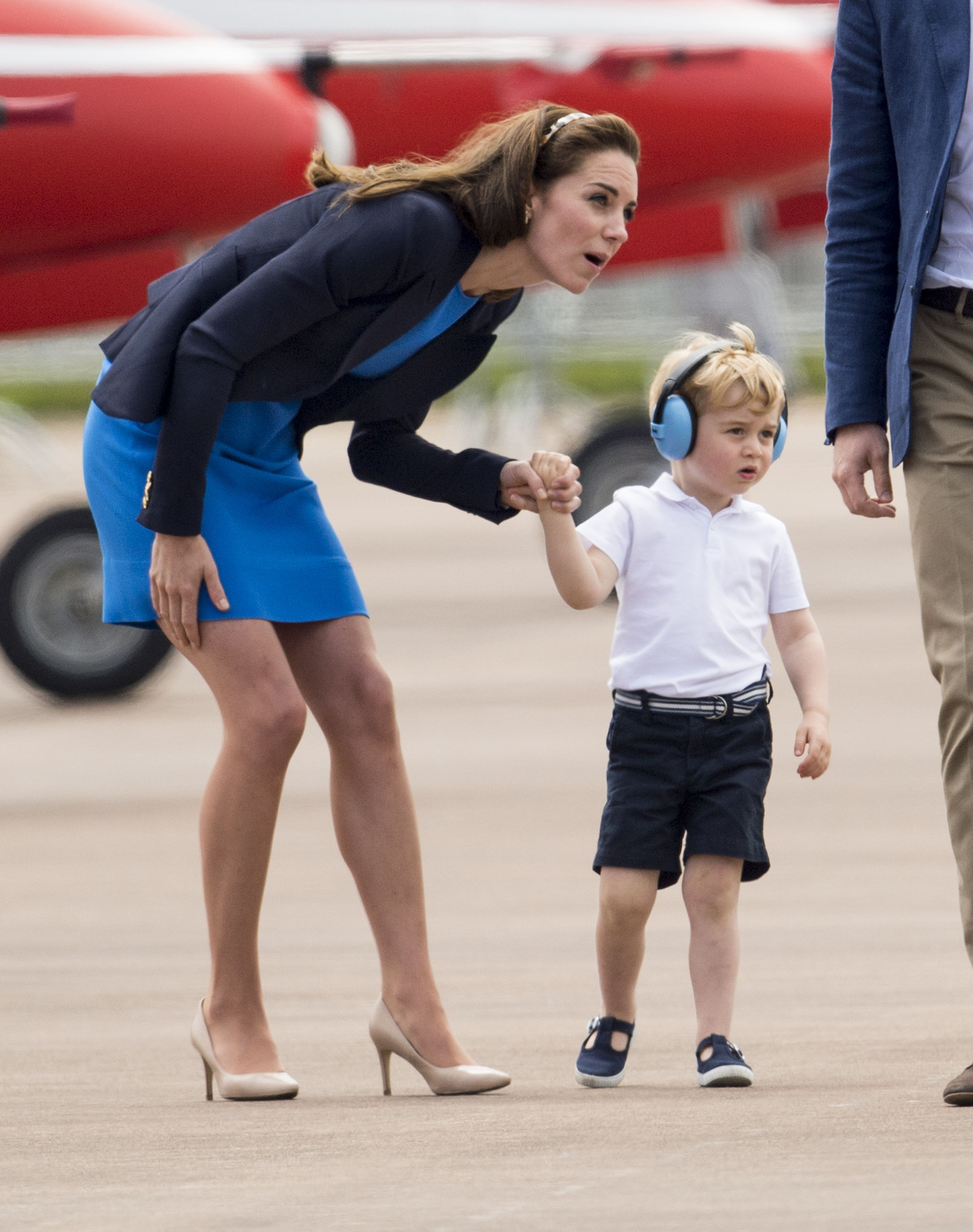 Prince George and Duchess Kate hold hands at RAF air show