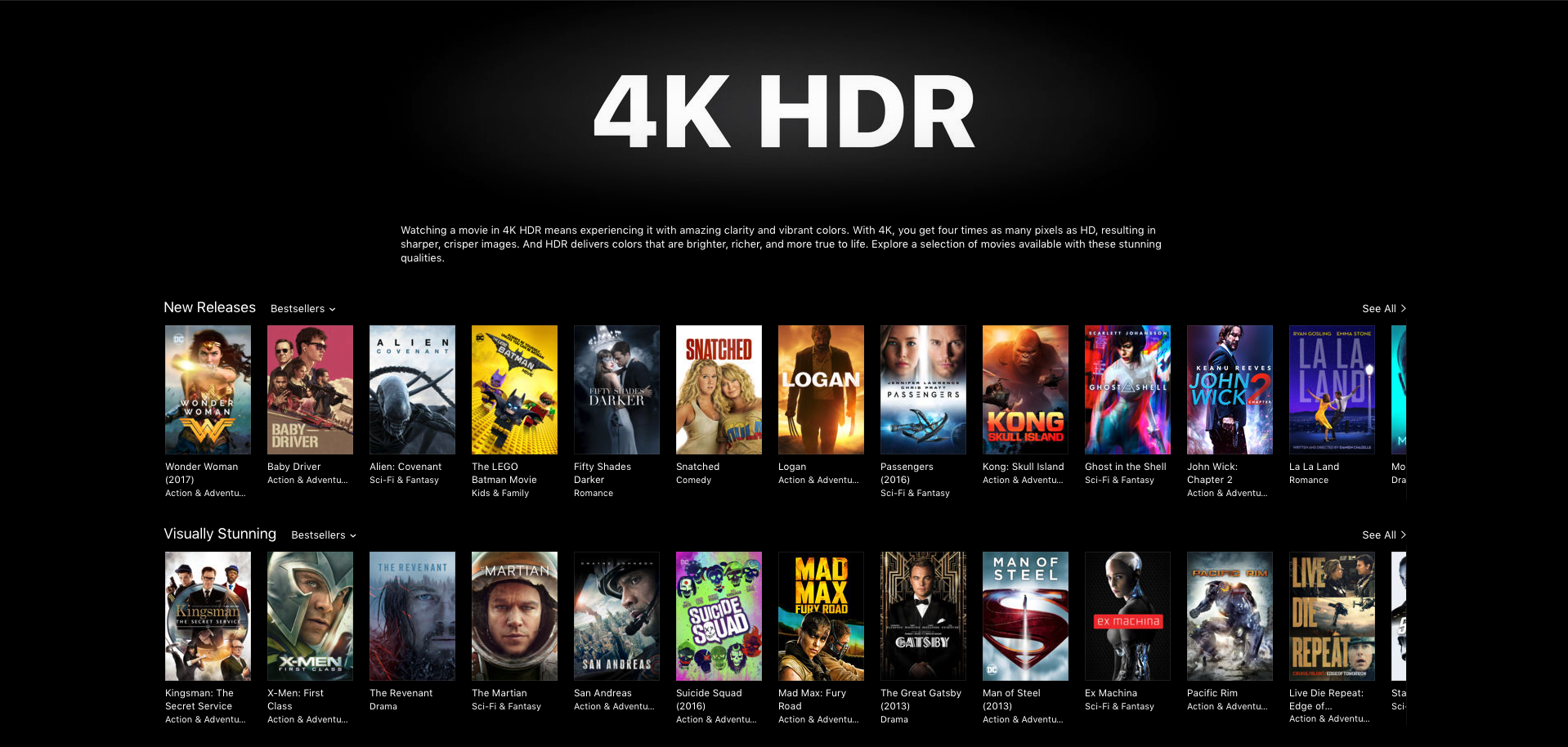 Apple only allows streaming, not downloading, of upgraded 4K movies