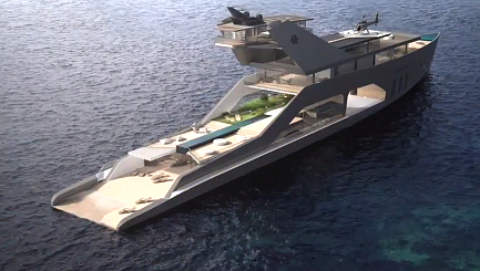 This mega yacht comes with its own private beach