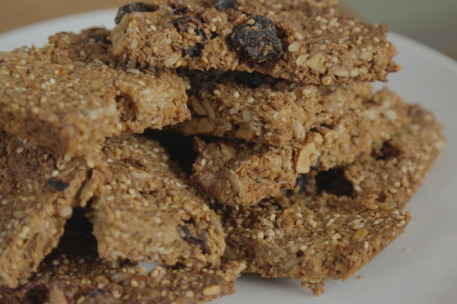 Honey nut cereal bars by Great British Bake Off star Cathryn Dresser .