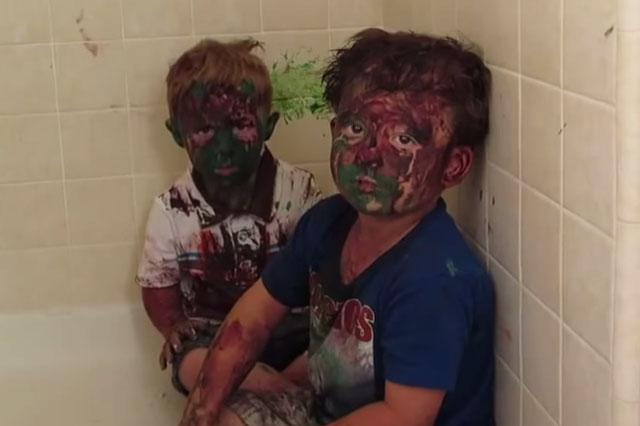 brothers covered in paint viral video
