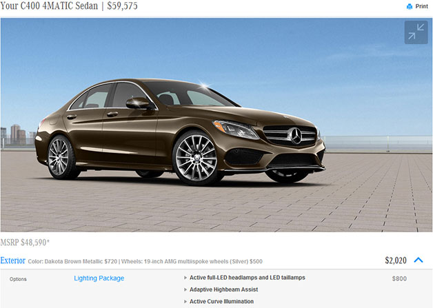 A screenshot of the configurator for the 2015 Mercedes-Benz C-Class.