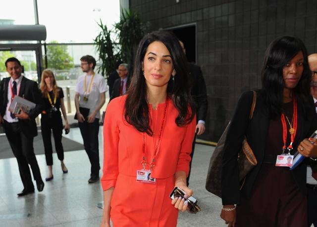 Amal Alamuddin spotted at Kate Middleton's wedding dress designer Alexander McQueen