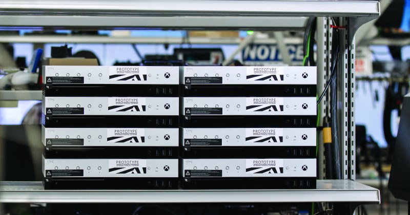 Xbox One Project Scorpio dev kits stacked