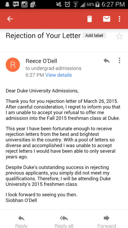 This Kid's Response To Being Rejected By Duke University Is Genius