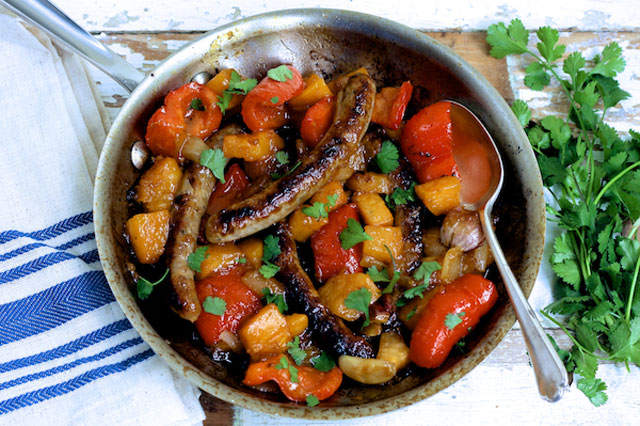 Sausage and sweet potato skillet supper recipe