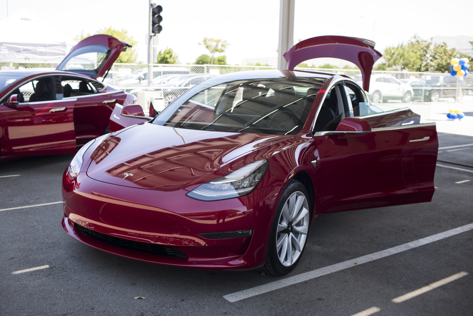 A Tesla Inc. Model 3 electric vehicle is displayed during the California Air Resources Board (CARB) 50th Anniversary Technology Symposium and Showcase in Riverside, California, U.S., on Thursday, May 17, 2018. The symposium highlights CARB's history of clean air leadership that has driven innovative solutions and made monumental improvements to Southern California's air quality. Photographer: Dania Maxwell/Bloomberg via Getty Images