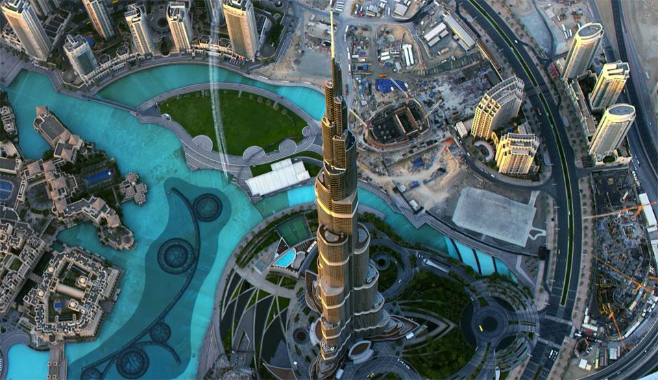 Flying near the Burj Khalifa in Dubai