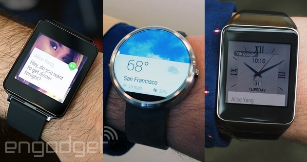 LG G Watch, Moto 360 and Samsung Gear Live