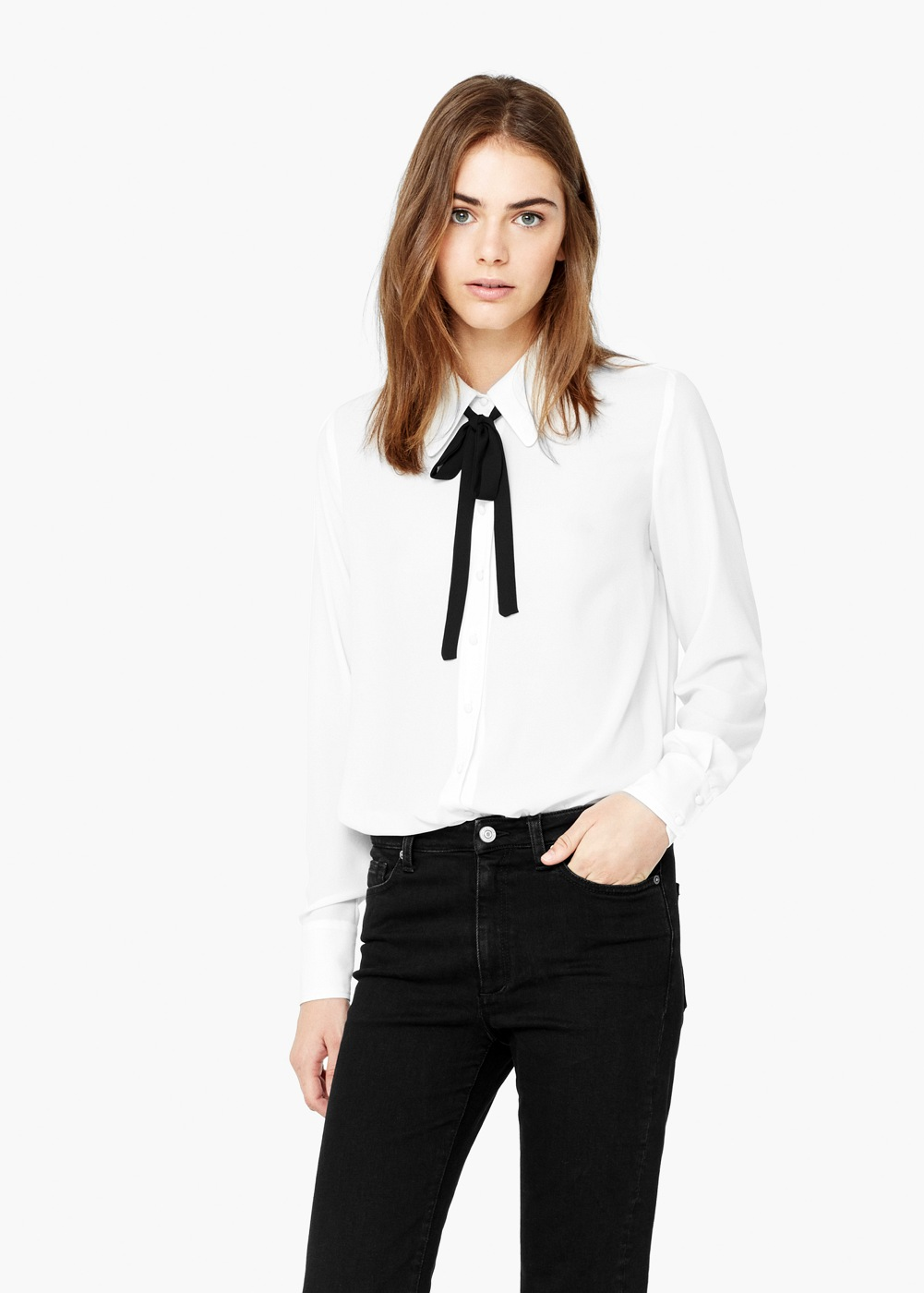 Mango tie neck blouse black and white