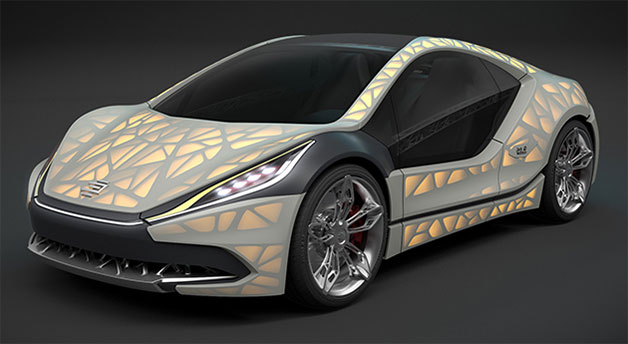 The Light Cocoon concept from Edag Engineering, to be shown at the 2015 Geneva Motor Show, front three-quarter view.