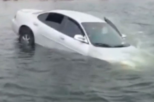 Dramatic moment teenager Taylor Arcizo saves baby from sinking car